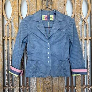 ROBERT GRAHAM FITTED BUTTON UP BLOUSE 6 EXCELLENT